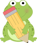 frog holding pencil